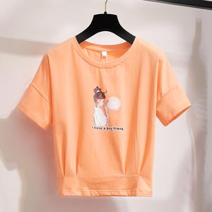 2020夏季新款韩版网红短款学生宽松卡腰上衣学生女短袖t恤潮