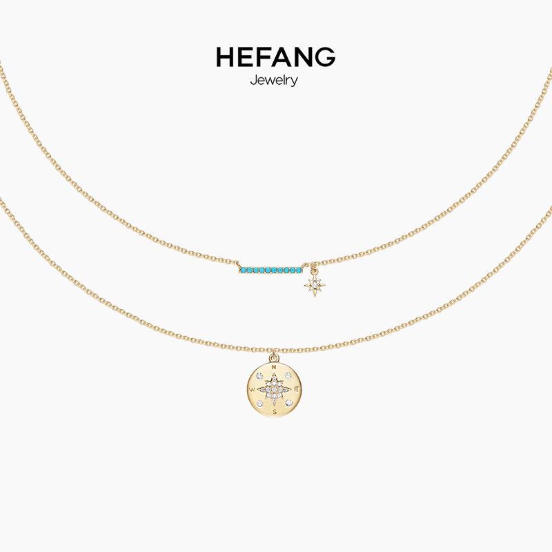 HEFANG Jewelry-何方珠宝罗盘项链 纯银女简约叠戴锁骨链颈吊坠
