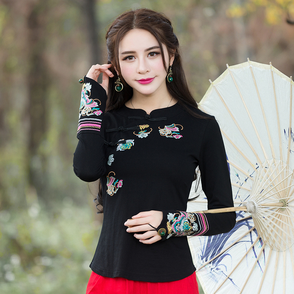 Real Shot retro embroidery flower T-shirt improved cheongsam long-sleeved shirt