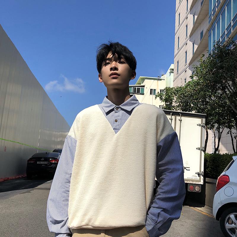 Hualun秋冬学院风毛衣衬衣假两件情侣装长袖衫ins港风学生潮衬衫