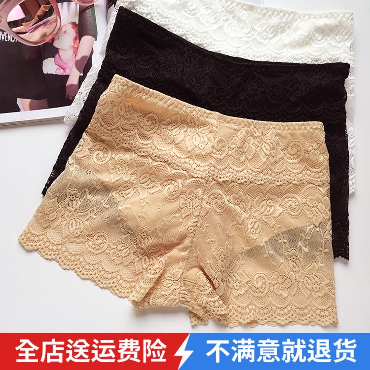 夏季女士新款免穿内裤双层三分打底裤子防走光保险全蕾丝安全短裤