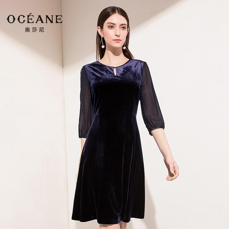 奥莎尼 2018秋装新款藏青色丝绒真丝拼接修身高腰气质显瘦连衣裙
