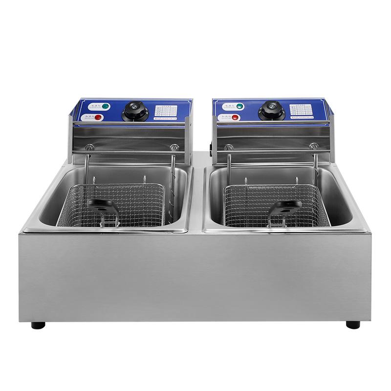 安雪商用电炸炉空气炸锅不锈钢双缸大容量炸鸡排烘焙小吃店设备