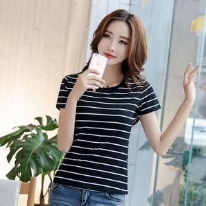 纯棉V领条纹短袖t恤女社会夏新款韩版修身百搭上衣学生打底衫体恤