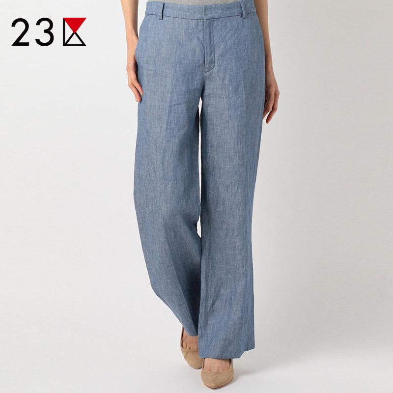 23区夏季亚麻阔腿裤优雅通勤宽松显瘦舒适薄款纯色休闲裤长裤女