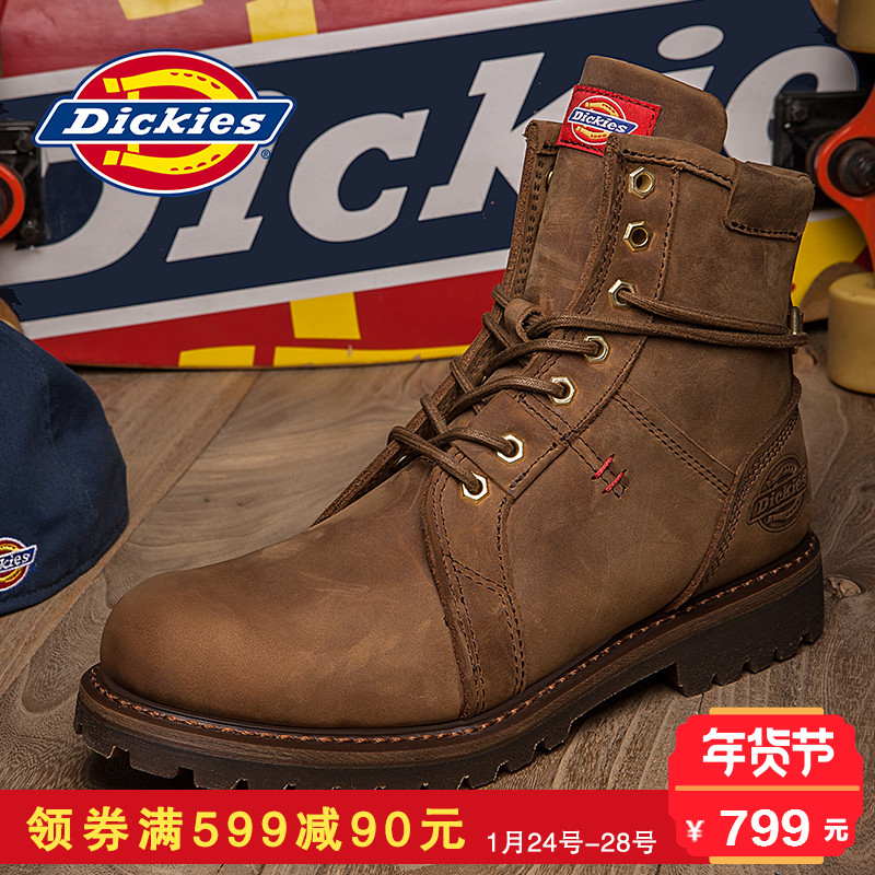 Dickies男鞋高帮工装鞋男复古男士鞋子韩版潮流大头皮鞋男