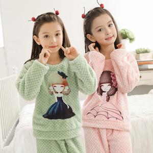 儿童睡衣法兰绒女孩中大童可爱卡通套装秋冬珊瑚绒小孩女童家居服