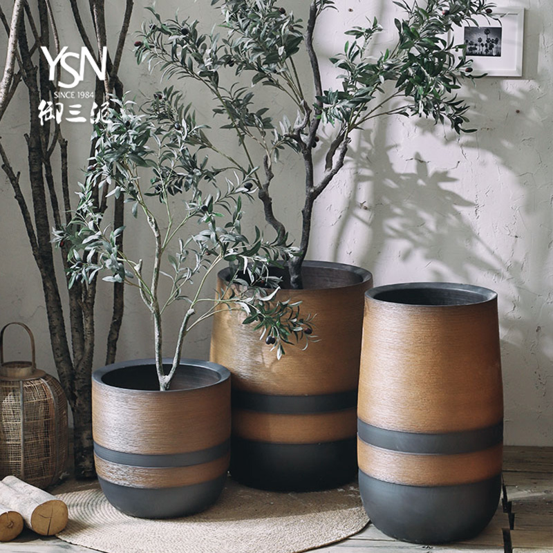 Three clay ceramic dark royal courtyard outside sitting room flower bed landscaping Nordic flowerpot ins wind green plant landscape