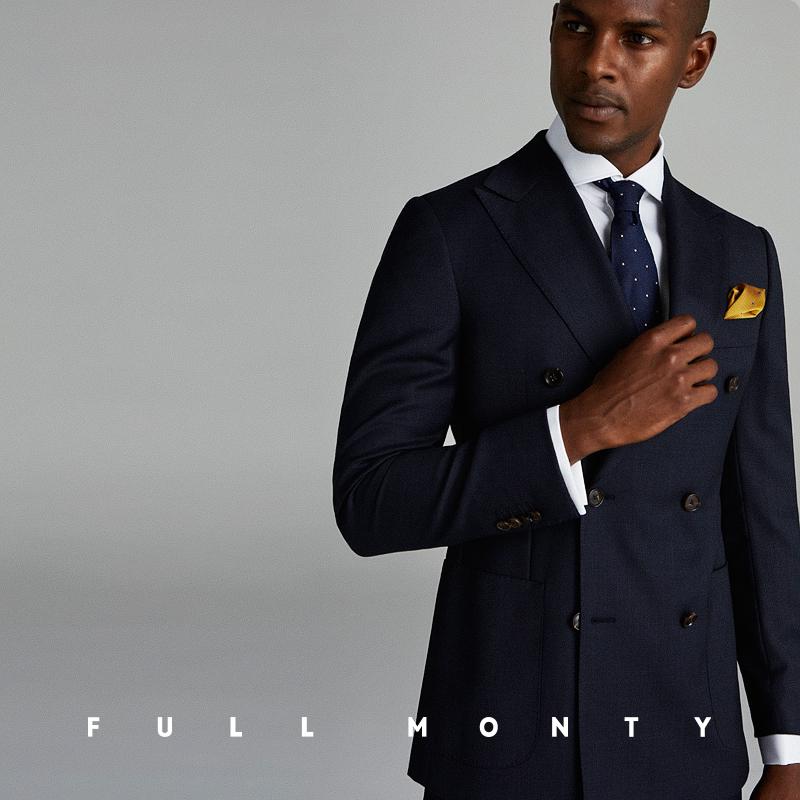 FULL MONTY藏青色鸟眼纹双排扣男士西服套装商务修身羊毛职业正装