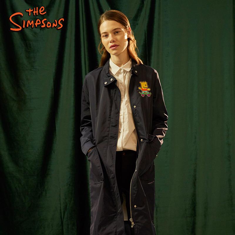 辛普森一家外套女 秋冬新品时尚编织刺绣长款口袋上衣时尚潮牌