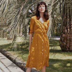 simple retro碎花复古法式连衣裙夏雪纺度假波点黄色长裙茶歇裙女
