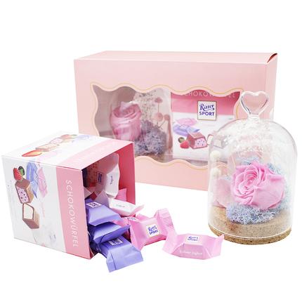 [包邮]瑞特斯波德进口礼盒装生日送女友永生花diy520情人节礼物巧克力