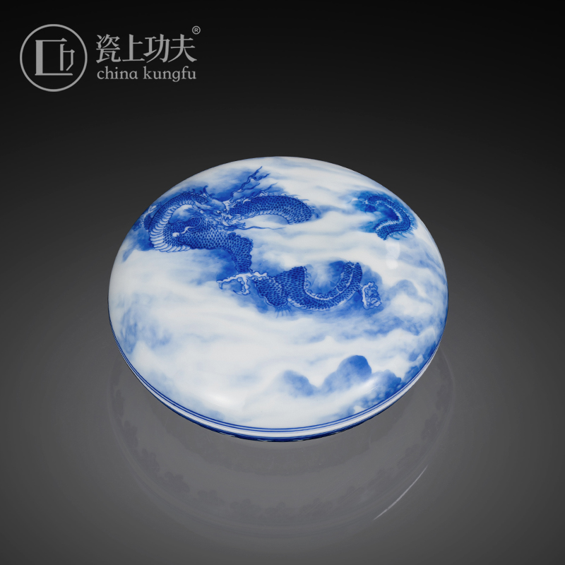 Jingdezhen ceramic checking hand - made blue dragon on day four treasures inkpad inkpad box cylinder receive a case