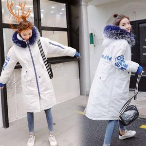洁白雪儿2018羽绒棉服女中长款韩版加厚宽松时尚冬季大毛领潮