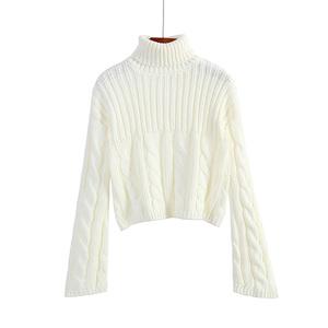 秋冬新款纯色高领毛衣女套头宽松韩版慵懒短款加厚学生针织衫外穿