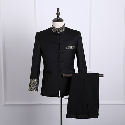 Single breasted slim fit blazer men chinese tunic suit jacket male suits man fashion blazers stand collar autumn plus velvet