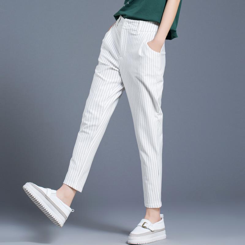 休闲小西裤女哈伦裤宽松九分裤黑白条纹春夏季女裤子2018新款薄款