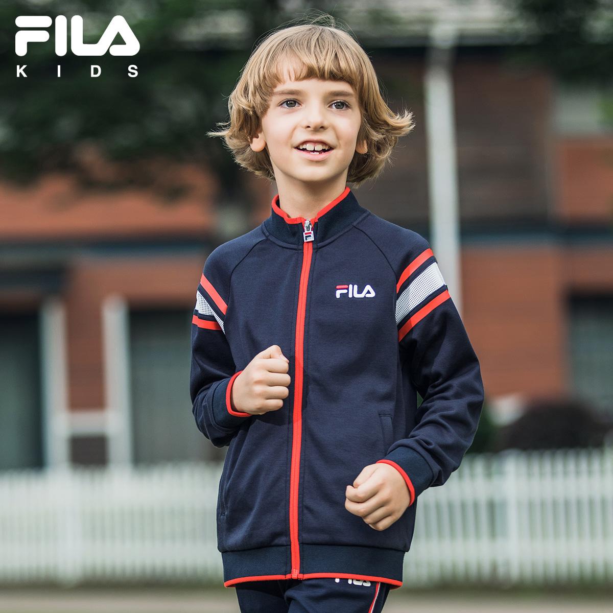 FILA斐乐童装外套男童舒适弹性休闲运动撞色简洁上衣2018秋季新款