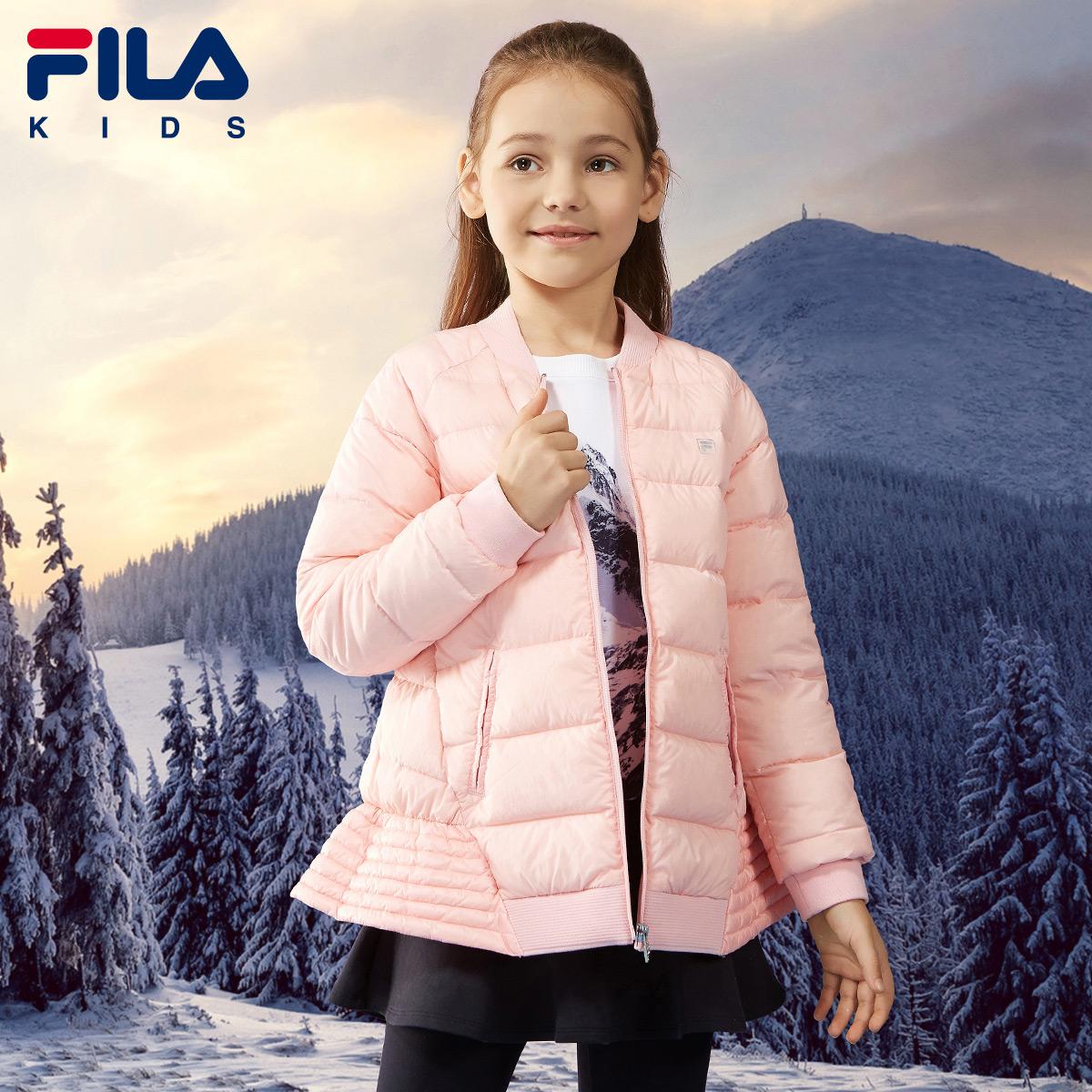 FILA斐乐童装女童羽绒服加厚白鸭绒保暖修身轻薄羽绒外套冬季新款