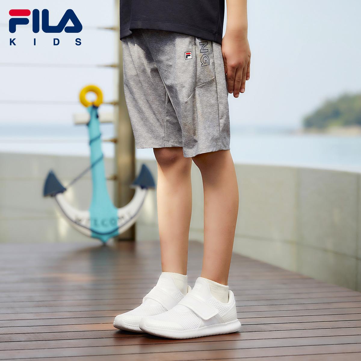 FILA斐乐童装夏季新款男童裤子时尚休闲柔软透气梭织五分裤2018
