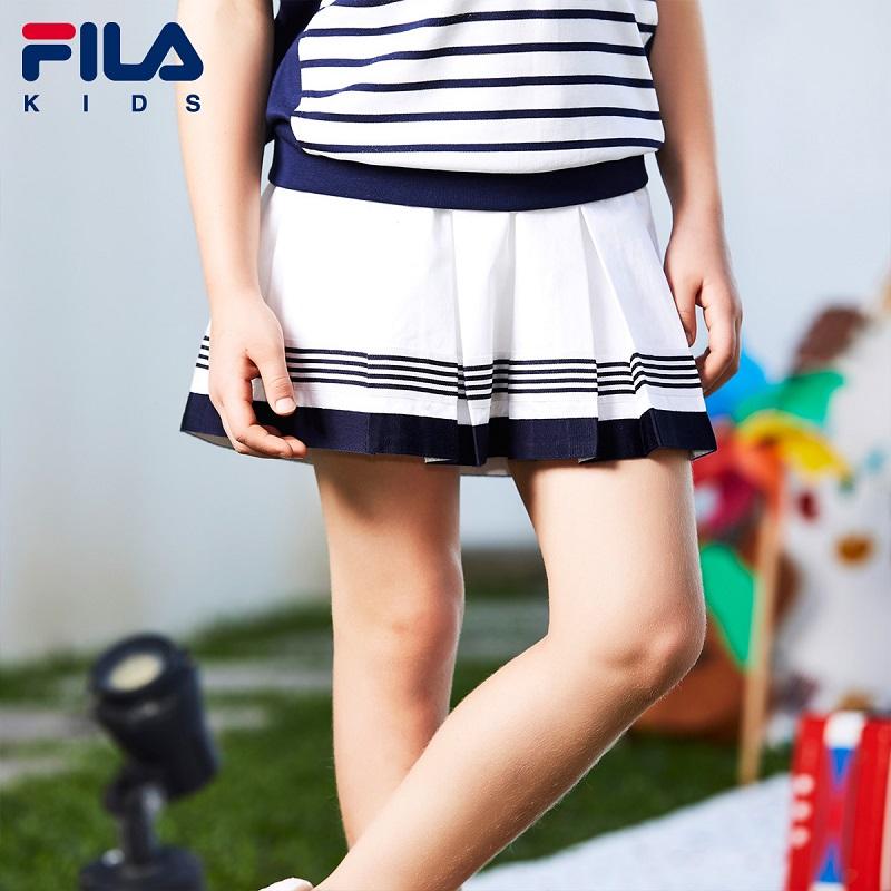 FILA斐乐童装2018年夏季新款女童撞色拼接百褶舒适时尚网球半身裙