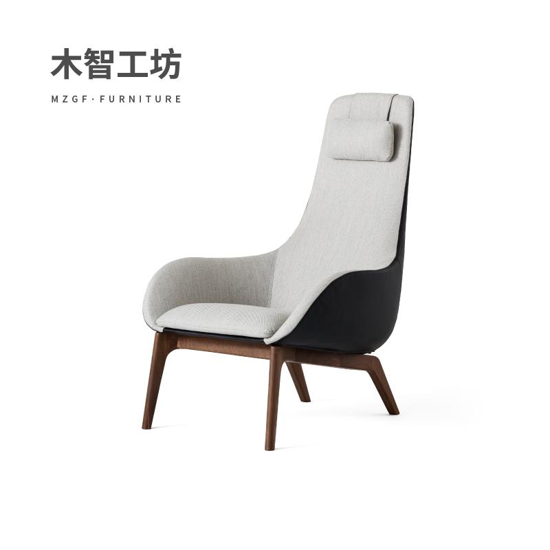 木智工坊|花瓣休闲椅布艺皮质现代客厅懒人沙发躺椅MZGF美璟