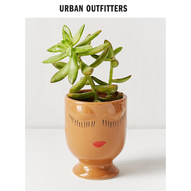 Urban Outfitters潮牌趣味造型印花陶瓷办公室写字台桌面盆栽花盆