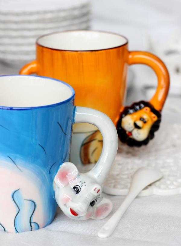 杯子可爱卡通马克杯水杯陶瓷杯子牛奶立体动物卡通杯