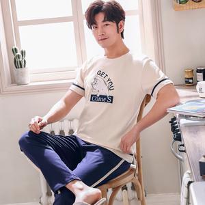 睡衣男夏季纯棉短袖长裤纯色夏款薄款套装宽松大码男士青年家居服