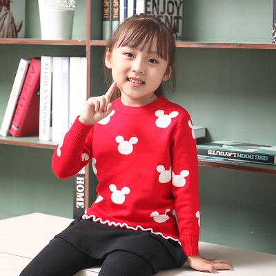 Girls baby sweater 2017 autumn and winter new Korean round neck pullover pullover Mickey children's clothing thickened bottoming shirt