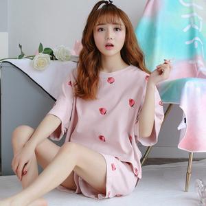 草莓睡衣女夏季短袖两件套装纯棉韩版清新宽松学生夏天可爱可外穿