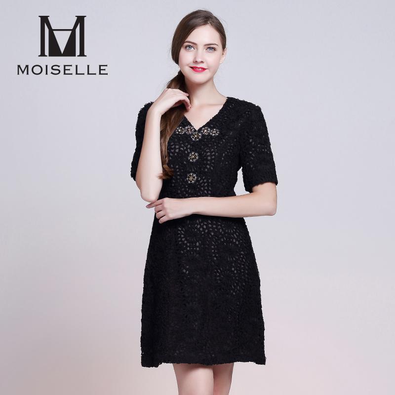 MOISELLE-慕诗黑色钉珠立体贴花V领短袖修身A字裙连衣裙新款