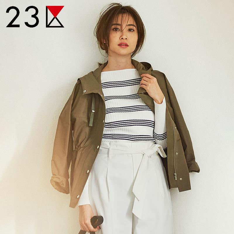 23区 ONWARD 外套女2018春季新款女时尚连帽短款工装外套短风衣