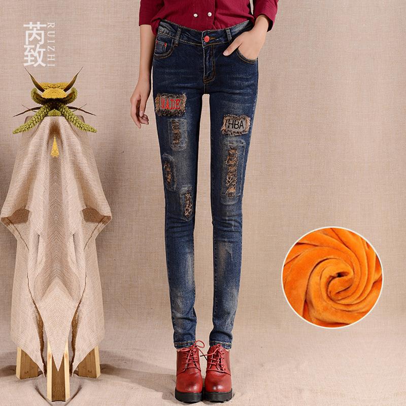刺绣牛仔裤女秋冬季2018新款韩版显瘦铅笔裤弹力紧身加绒小脚裤子