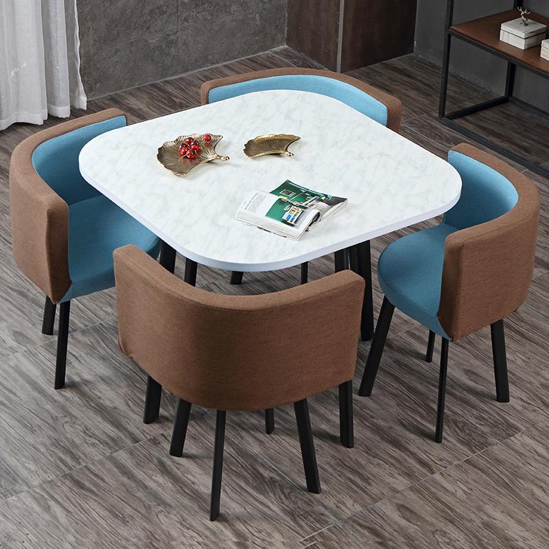北欧现代简约接待会客洽谈桌椅组合谈判休闲咖啡厅一桌四椅餐厅桌