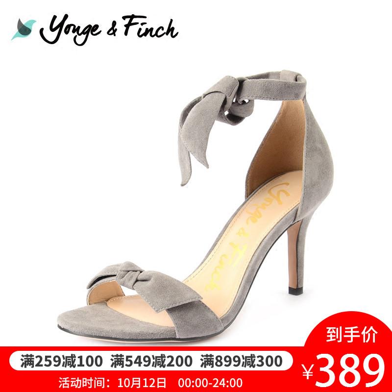 Yonge Finch-扬芬缇18新款女鞋一字带系带蝴蝶结时尚优雅高跟凉鞋