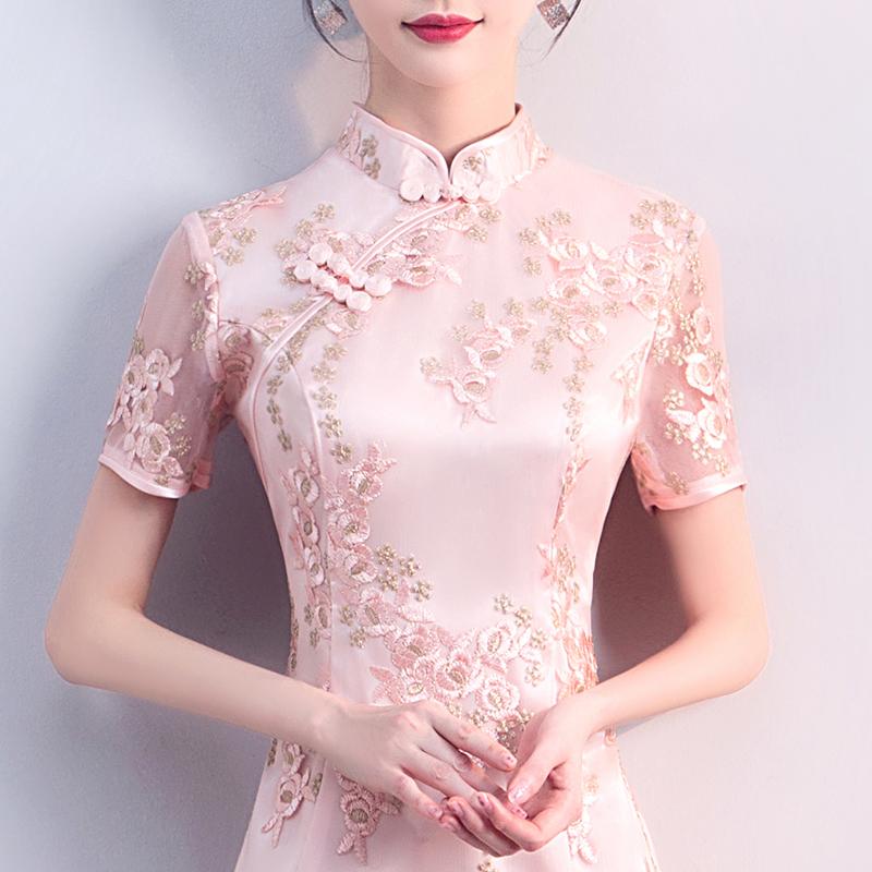 年轻旗袍裙秋季2018新款女短款现代甜美端庄大气中国风改良版少女