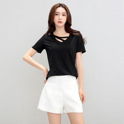 芳卓萱v领T恤装饰带欧美黑色时尚短袖女2018新款纯色上衣半袖短款