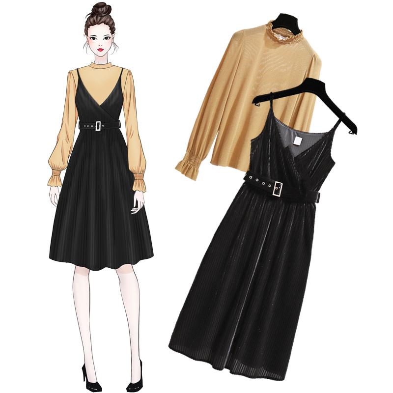 有女人味的金丝绒长袖连衣裙2018秋季打底两件套吊带小黑裙长款