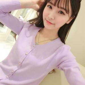 春秋装新款韩版女装长袖V领针织衫女修身小开衫女防晒外套空调衫