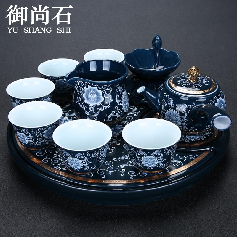 景德镇青花瓷茶具套装 霁蓝功夫茶道手绘陶瓷泡茶壶排储水茶盘台