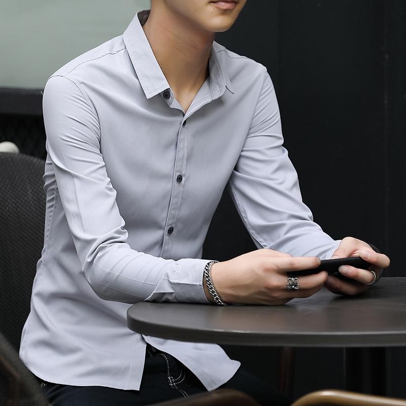 狄客秋季新款男装男士长袖衬衫纯色韩版修身免烫潮男衬衣青年寸衫