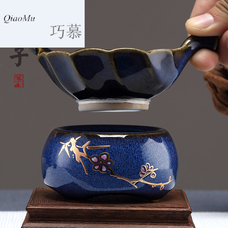 Qiao MuFengZi creativity fair keller) blue TuHao 鏒 Jin Chongcha filter ceramic filter tea tea
