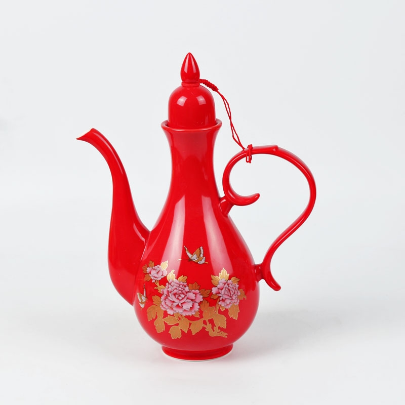 Qiao MuShuangXi wedding red wedding toast pot portion of household ceramic wine liquor cup wine wine decanters