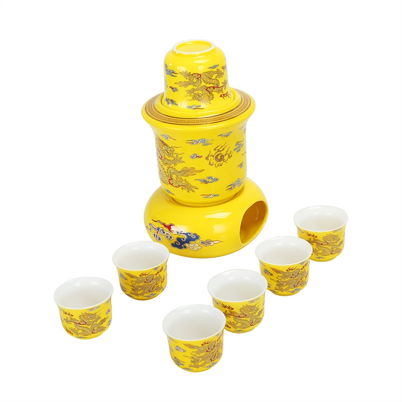 Qiao mu ceramic wine liquor temperature wine pot hot hip household glass rice wine with Chinese style hot half jins and warm wine pot