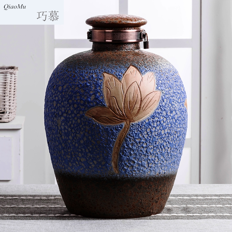 Qiao mu new lotus anaglyph ceramic jars 10 jins 20 jins 30 jins 50 jin an empty bottle seal storage jars, jugs