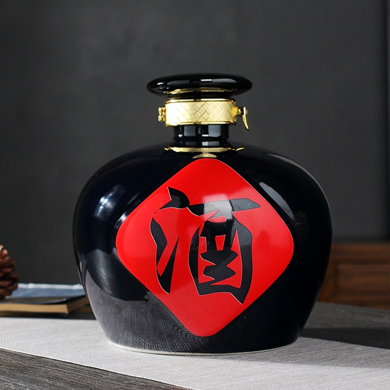 Qiao mu to restore ancient ways small black porcelain bottle expressions using 1 catty 2 jins 3 jins 5 jins of empty wine bottle seal black glaze jar with a card