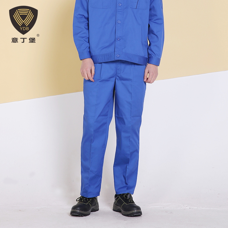 Summer overalls pants men wear cotton blue welding thin section loose solid labor pants work pants auto repair