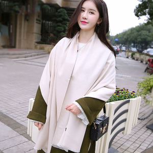 艾利莱羊羔绒围巾2017年新款百搭纯色围巾韩版学生保暖羊绒围巾