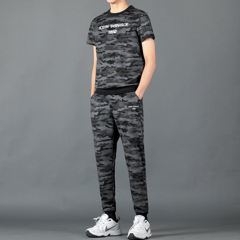 ins同款短袖T恤男套装短裤两件套2019新款夏季潮牌迷彩衣服帅T恤